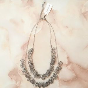 talbots silver filigree double layered necklace